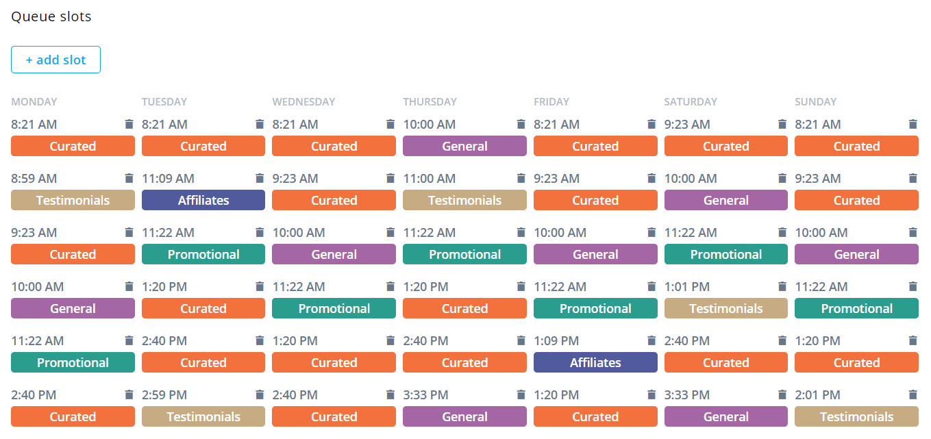 Agorapulse's content queue scheduler